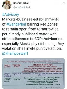 Advisory for Markets in Ganderbal issued by District Administration