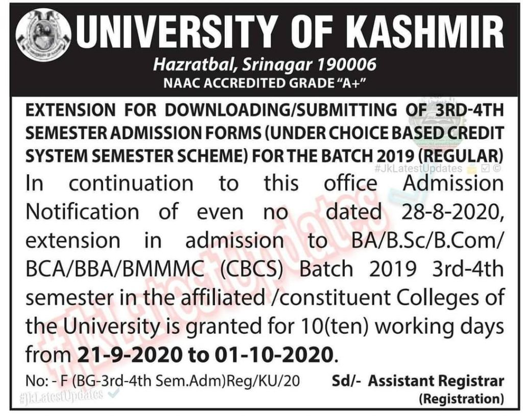 University Of Kashmir Important Update BG 3rd 4th Semester Admission Forms