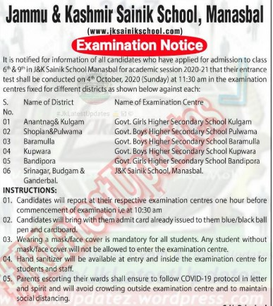 Jammu and Kashmir Sainik School Manasbal Examination Notice