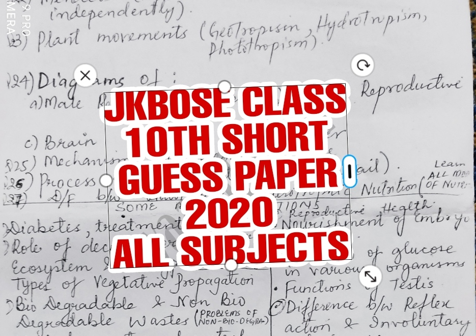 Jkbose class 10th guess papers all subjects 2020 science english math urdu sst