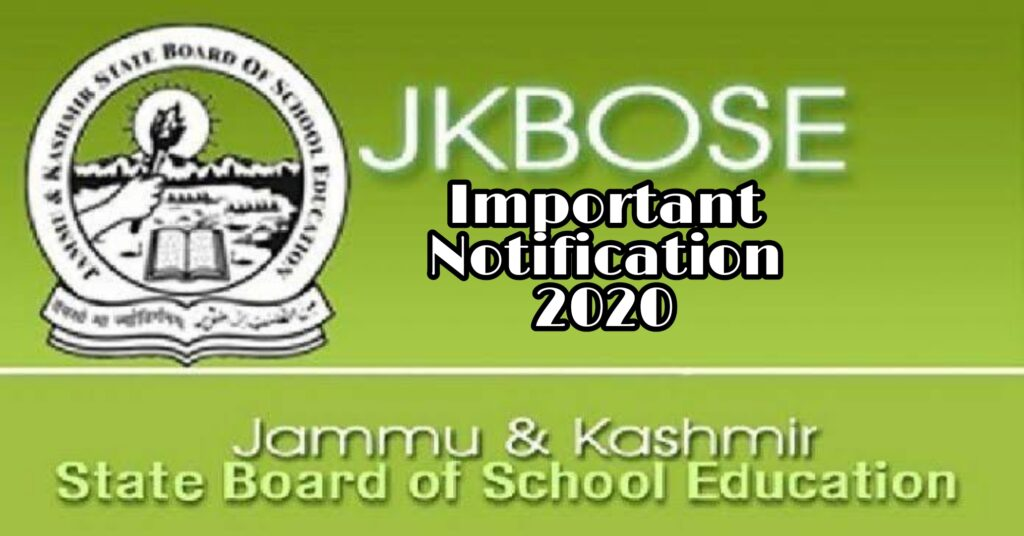 JKBOSE Notification 2020 For Class 10th 12th