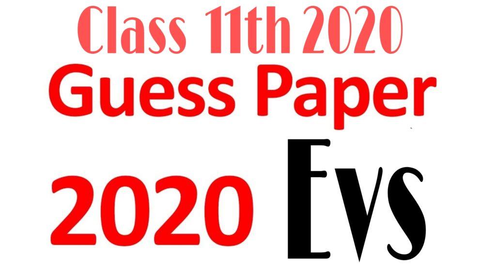 JKBOSE Class 11th Evs Guess Exam Paper 2020