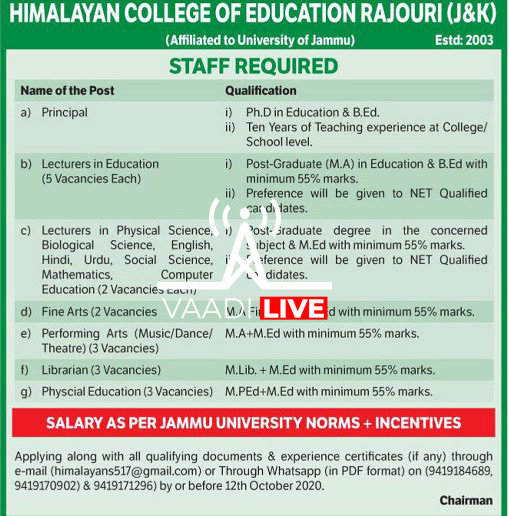 Jobs in Himalayan College Of Education 2020 :Apply Now