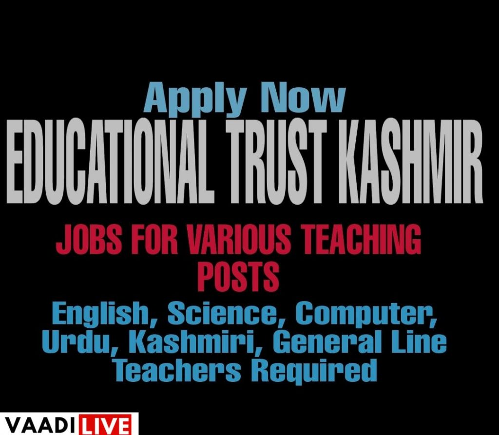 latest teaching jobs in kashmir Teacher recruitment in Jammu and Kashmir Education jobs in srinagar kashmir Budgam Uri