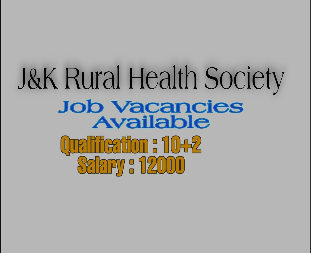 District rural health society Jobs anaesthesia technician jobs 12th pass Srinagar