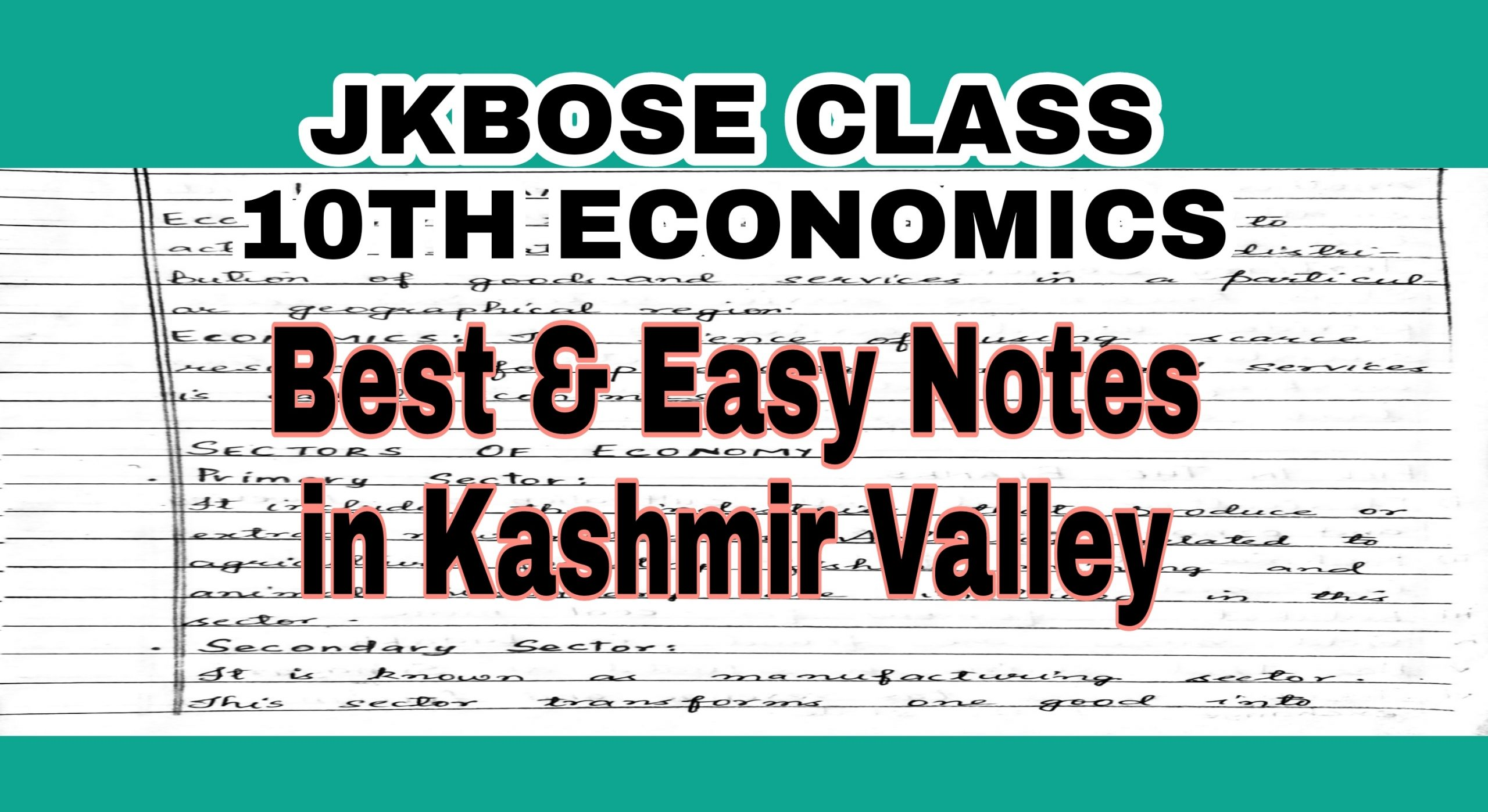 10th Class Economics notes JKBOSE NCERT Download Latest Syllabus 2021
