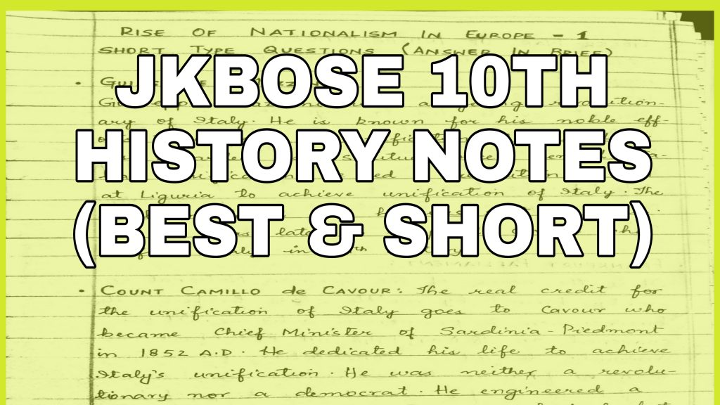 JKBOSE Class 10th History Notes Pdf Download Social Science Best and Short notes