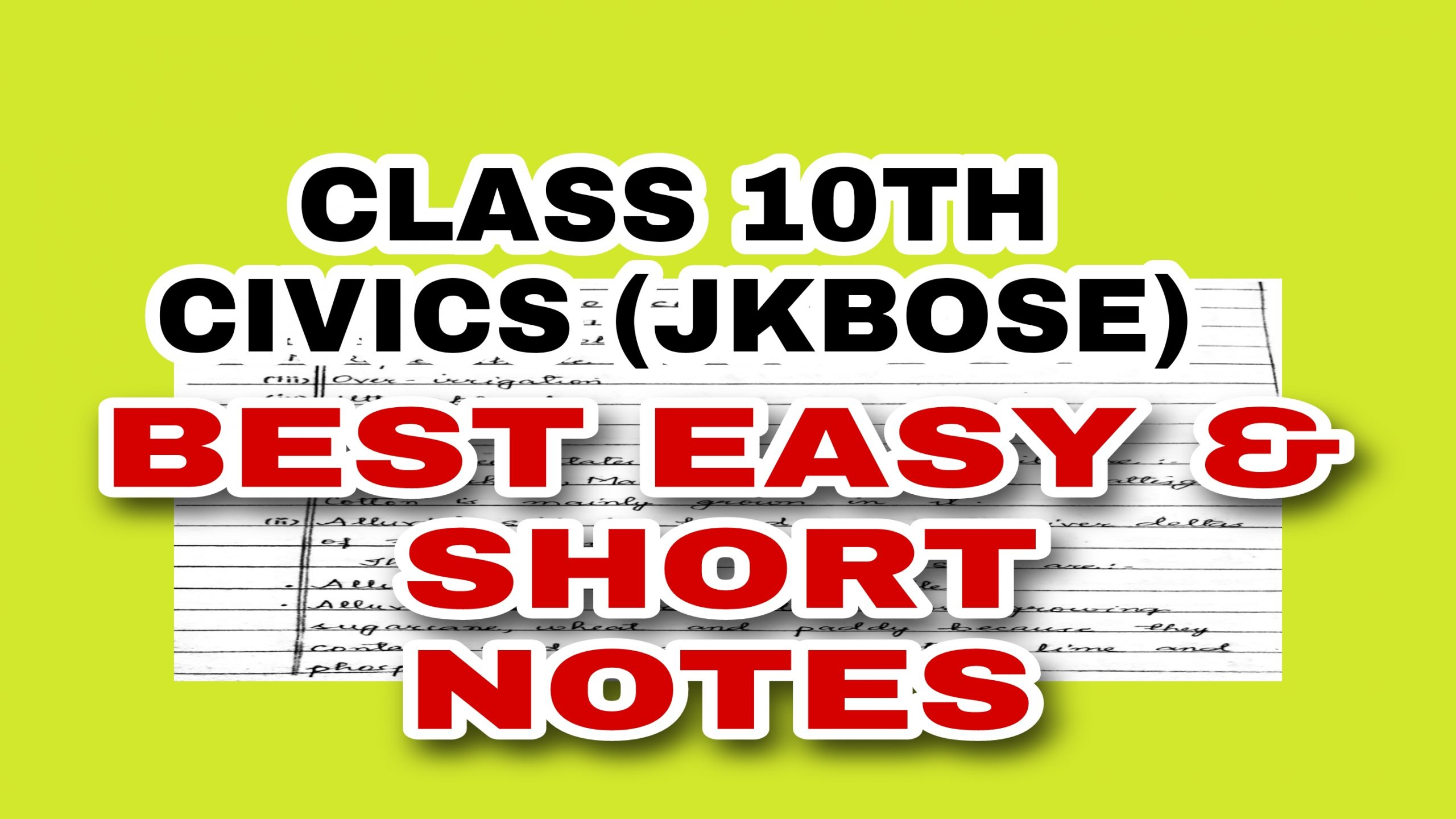 JKBOSE Civics Notes Pdf Download Political science Class 10th Best notes