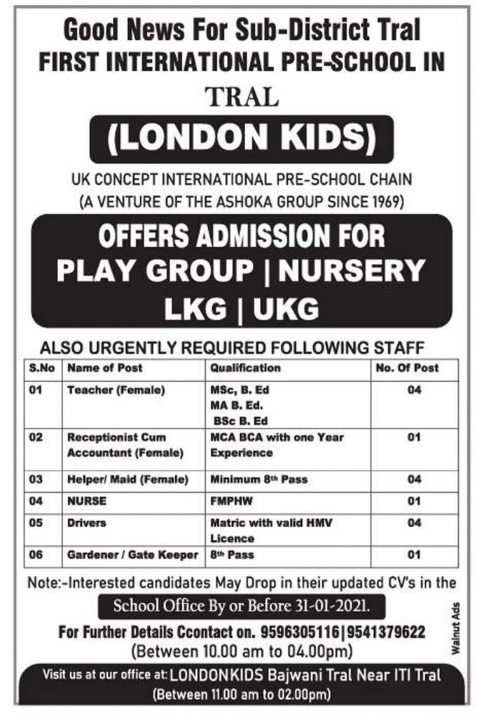 First International Pre School Required 15 Posts: Teacher, Driver, Helper & Gardener