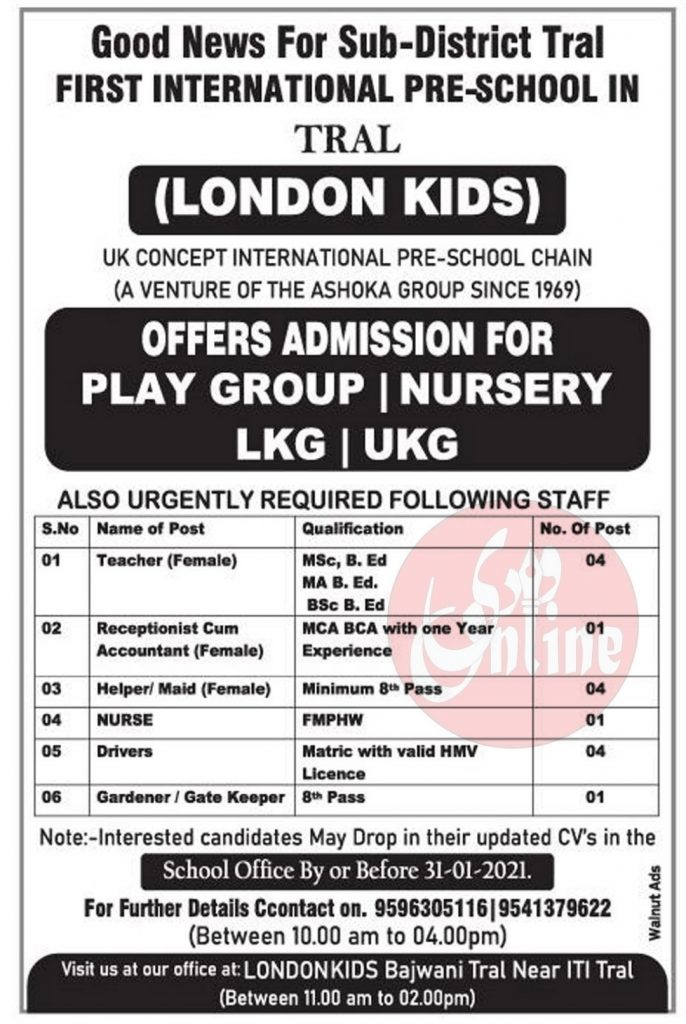 Private School jobs in pulwama Tral London Kids District First international pre school