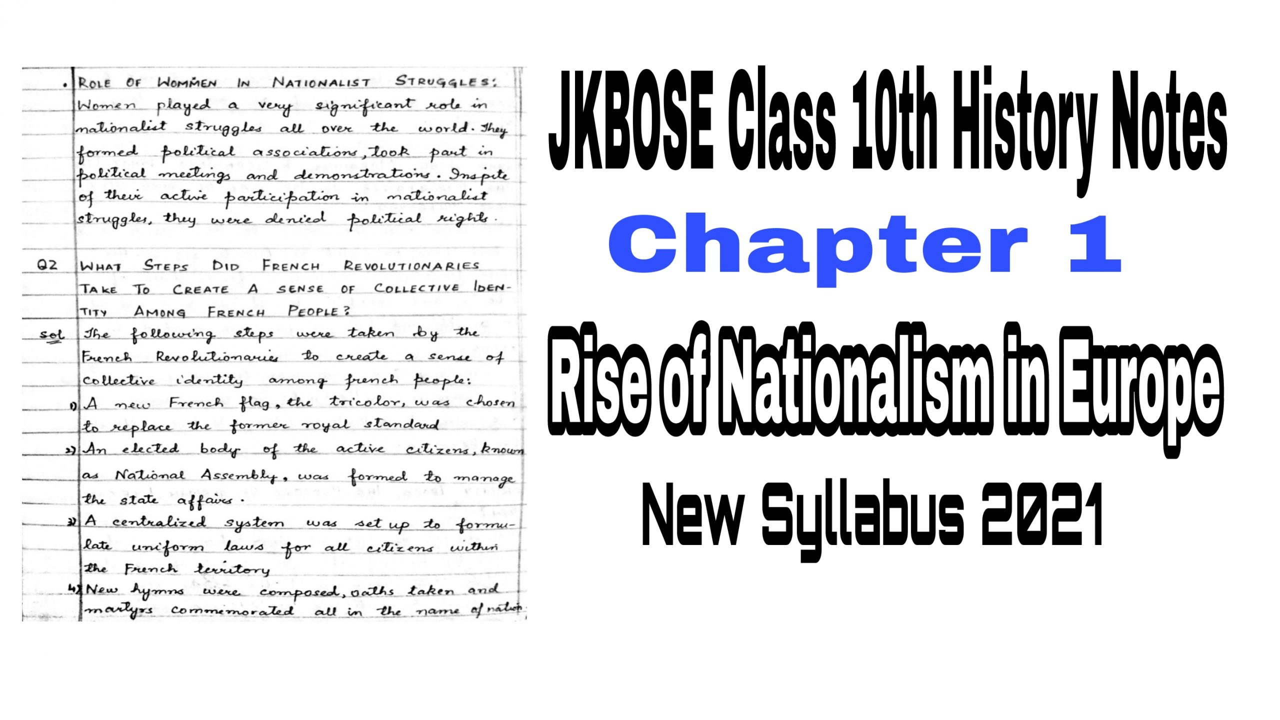 class 10th history chapter 1 Notes Jkbose rise of nationalism in europe New syllabus 2021 pdf download