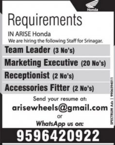 Jobs in Arise Honda 24 Posts Available: Apply Now