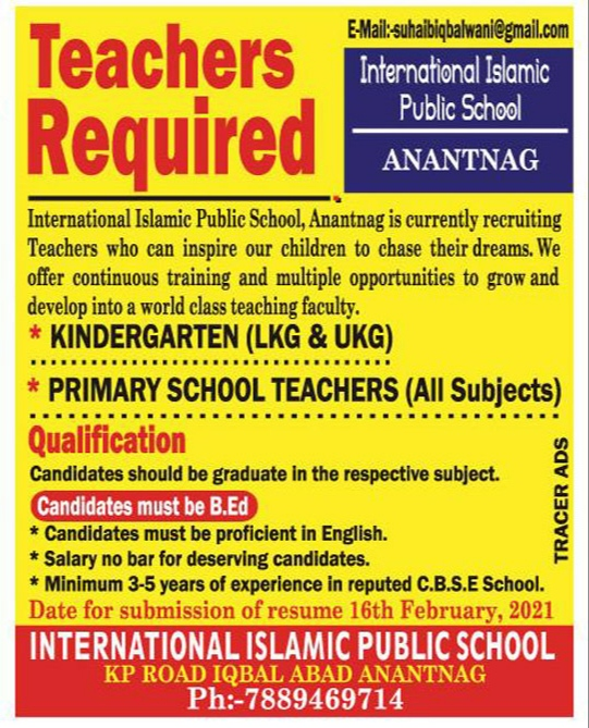 private school jobs in anantnag District international islamic Public school KP Road Iqbal Abad Recruitment
