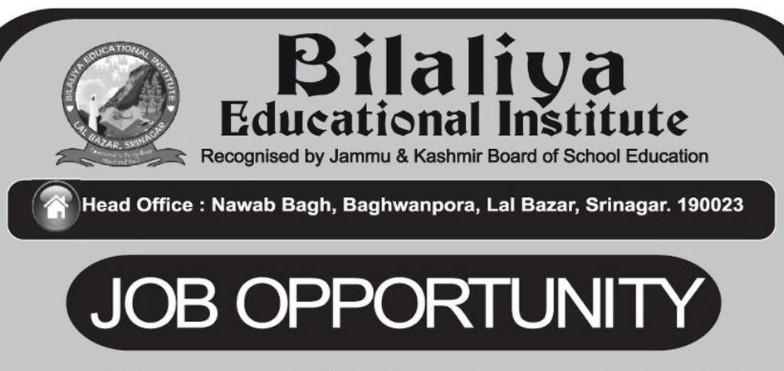 Bilaliya Educational Institute Recruitment Drive 2021: Apply Now