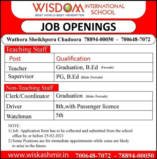 5th, 8th, Graduation Jobs in Kashmir