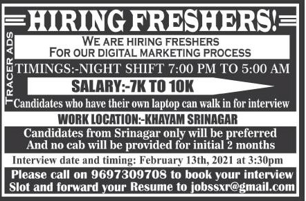 jobs for Freshers in Srinagar Kashmir Salary Upto 10000