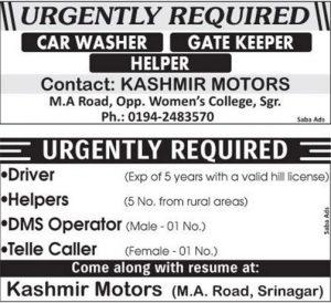 Job in Kashmir Motors in Srinagar Helpers, Drivers, Gatekeeper & Posts