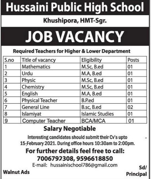 Hussaini Public High School Khushipora HMT Jobs in Srinagar Apply Now
