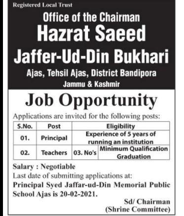 Jobs for Teachers In Kashmir