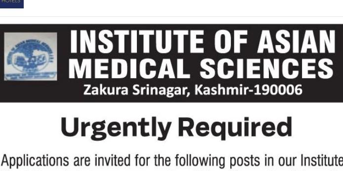 Job in Institute Of Asian Medical Sciences Srinagar Kashmir 2021