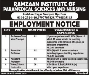 Ramzaan Institute Science and Nursing Jobs in Srinagar 2021