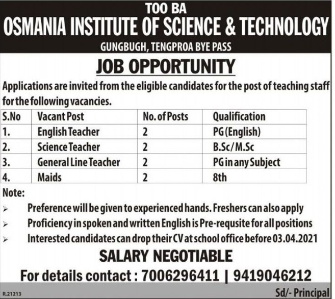 Osmania Institute Of Science & Technology Recruitment