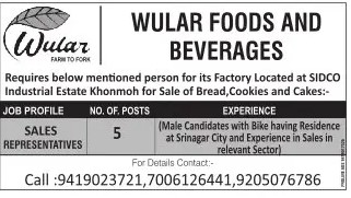Wular Foods And Beverages Jobs: Apply Now