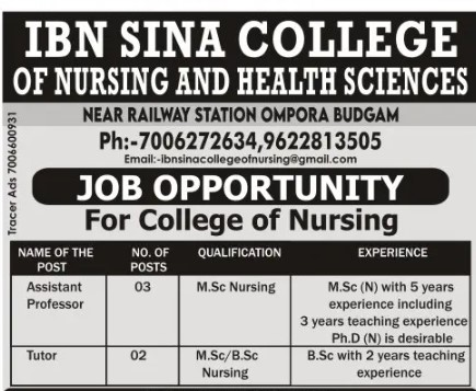 Nursing and Health Sciences Jobs available