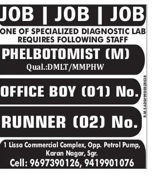 Specialized Diagnostic Lab Requires Following Staff: Apply Now
