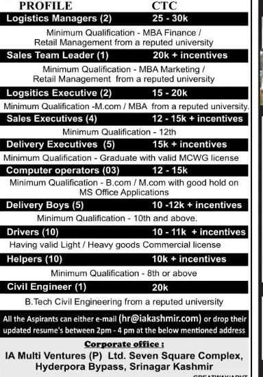 Latest Recruitment Drive in Srinagar 42 Posts Available: Apply Now